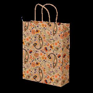 Premium Kraft – Floral Rústico – Sacola com alça papel – M
