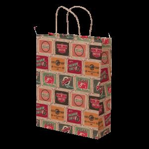 Premium Kraft – Placas Vintage – Sacola com alça papel – M