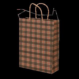 Premium Kraft – Xadrez Vermelho e Cinza – Sacola com alça papel – M