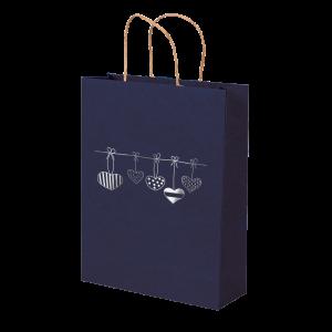 Premium Kraft – Azul Coração – Sacola com alça papel – M