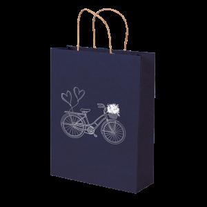 Premium Kraft – Azul Bicicleta – Sacola com alça papel – M