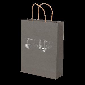 Premium Kraft – Cinza Coração – Sacola envelope com alça – PP