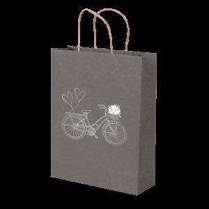 Premium Kraft – Cinza Bicicleta – Sacola com alça papel – M