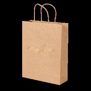 Premium Kraft – Natural Laço – Sacola com alça papel – M