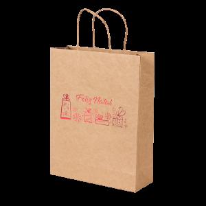 Premium Kraft – Natural Natal – Sacola com alça papel – M