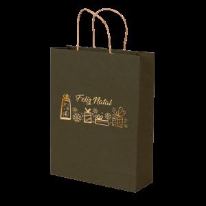 Premium Kraft – Verde Natal – Sacola com alça papel – M