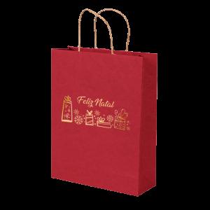 Premium Kraft – Vermelho Natal – Sacola com alça papel – M