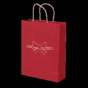 Premium Kraft – Vermelho Laço – Sacola com alça papel – M