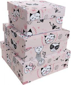 Kit Caixas Rígidas – Quadrado – Gatinhas Miau