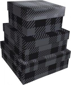 Kit Caixas Rígidas – Quadrado – Xadrez Ellegance