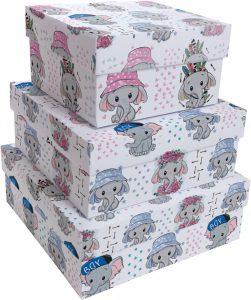 Kit Caixas Rígidas – Quadrado – Elefantinhos
