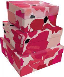 Kit Caixas Rígidas – Quadrado – Flores de Vermelho