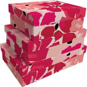 Kit Caixas Rígidas – Retangular – Flores de Vermelho