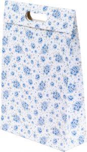 Sacola presenteável com aba – M – Rosas Azuis