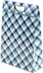 Sacola presenteável com aba – M – Xadrez Verde e Azul