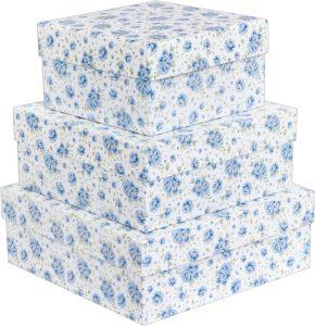 Kit Caixas Rígidas – Quadrado – Rosas Azuis