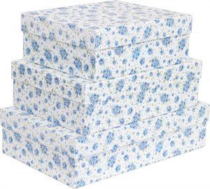 Kit Caixas Rígidas – Retangular – Rosas Azuis