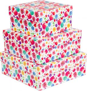 Kit Caixas Rígidas – Quadrado – Flores Aquarela