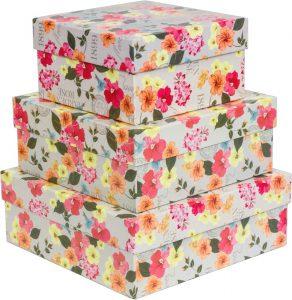 Kit Caixas Rígidas – Quadrado – Flores Retrô