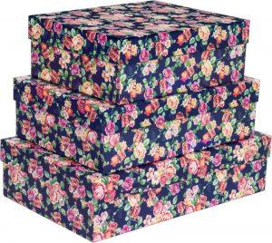 Kit Caixas Rígidas – Retangular – Floral Noturno