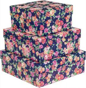Kit Caixas Rígidas – Quadrado – Floral Noturno