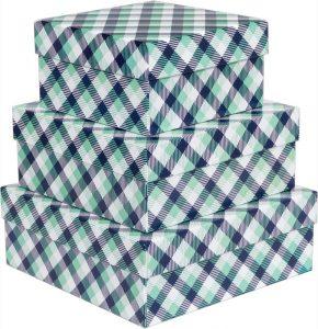 Kit Caixas Rígidas – Quadrado – Xadrez Verde e Azul