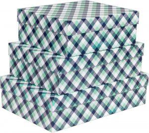 Kit Caixas Rígidas – Retangular – Xadrez Verde e Azul