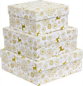 Kit Caixas Rígidas – Quadrado – Natal Gold