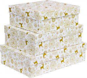Kit Caixas Rígidas – Retangular – Natal Gold