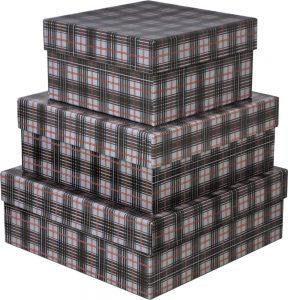 Kit Caixas Rígidas – Quadrado – Xadrez Cinza e Vermelho