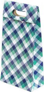 Sacola presenteável com aba – P – Xadrez Verde e Azul