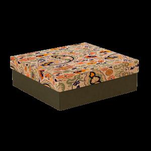 Premium Kraft – Floral Rústico – Caixa tampa e fundo – M