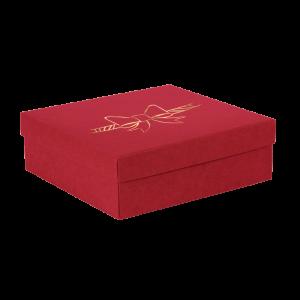 Premium Kraft – Vermelho Laço – Caixa tampa e fundo – M