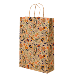 Premium Kraft – Floral Rústico – Sacola com alça papel – P