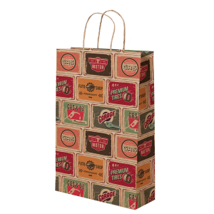 Premium Kraft – Placas Vintage – Sacola com alça papel – P