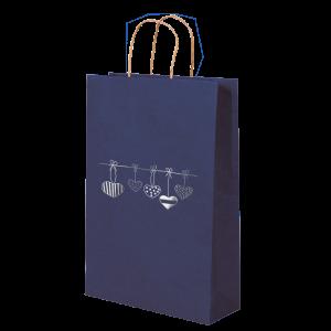 Premium Kraft – Azul Coração – Sacola com alça papel – P