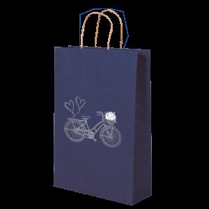 Premium Kraft – Azul Bicicleta – Sacola com alça papel – P