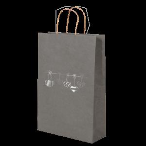 Premium Kraft – Cinza Coração – Sacola com alça papel – P