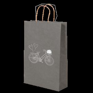Premium Kraft – Cinza Bicicleta – Sacola com alça papel – P