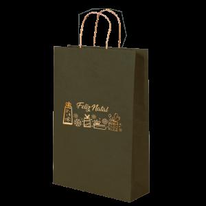 Premium Kraft – Verde Natal – Sacola com alça papel – P