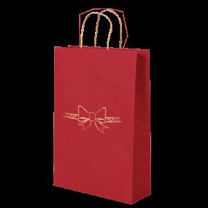 Premium Kraft – Vermelho Laço – Sacola com alça papel – P