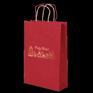 Premium Kraft – Vermelho Natal – Sacola com alça papel – P