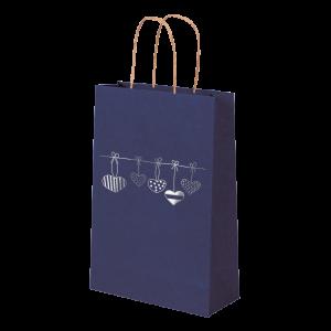 Premium Kraft – Azul Coração – Sacola com alça papel – PP