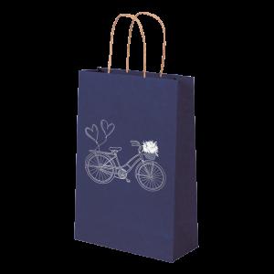 Premium Kraft – Azul Bicicleta – Sacola com alça papel – PP