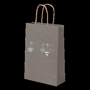 Premium Kraft – Cinza Coração – Sacola com alça papel – PP