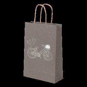 Premium Kraft – Cinza Bicicleta – Sacola com alça papel – PP