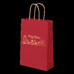Premium Kraft – Vermelho Natal – Sacola com alça papel – PP