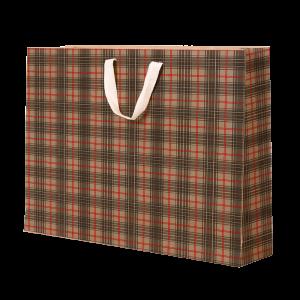 Premium Kraft – Xadrez Vermelho e Cinza – Sacola com alça algodão – G