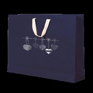 Premium Kraft – Azul Coração – Sacola com alça algodão – G