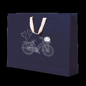 Premium Kraft – Azul Bicicleta – Sacola com alça algodão – G